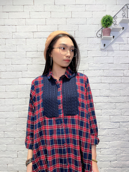 1911039 DD knitted patchwork checks shirt OP