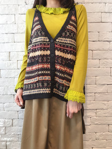 2009100 JF Patterned Knit Vest - BLACK