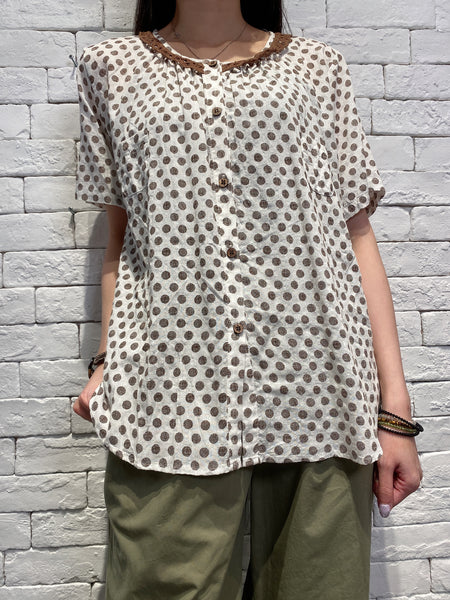 2004125 DD lace collar dots blouse - BROWN