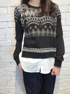 2008090 JF diamonds print patchwork pullover - BLACK