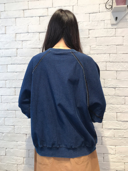 2009097 JP Mixed Denim Loose Pullover - NAVY