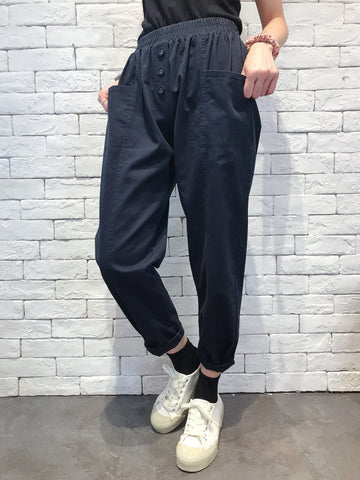 2009108 JP Button Casual Pants - NAVY