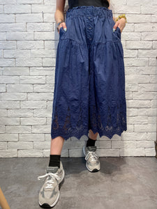 2005075 DD buttons pleated embroidered pants