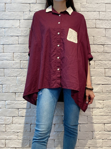 2004151 AS lace pocket loose Shirt- PURPLE