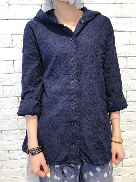 2007126 JF lace hood outer - NAVY