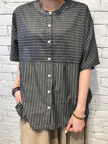 2007145 JF striped loose shirt