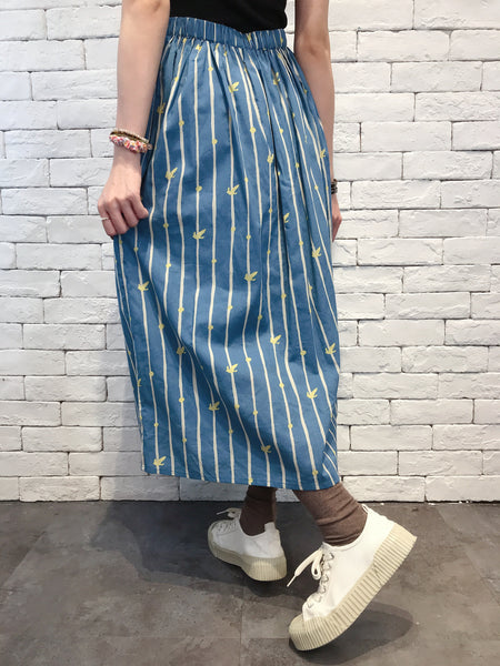 2008115 MMO striped pattern skirt - BLUE