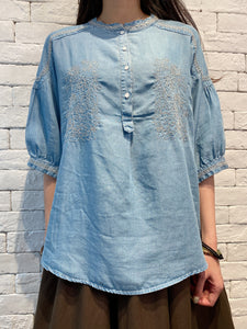 2004021 DD embroidered denim blouse