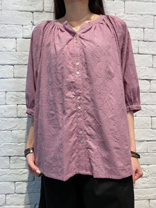 2004024 DD triangle pattern blouse - PURPLE