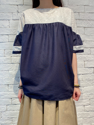 2004025 AN lace & check blouse - NAVY