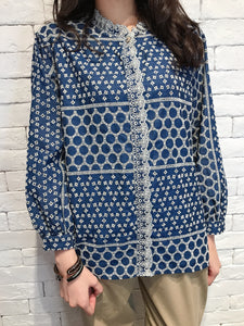 2008003 JF embroidered denim blouse - NAVY
