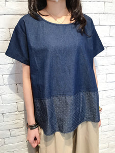 2008013 MS patchwork denim top - DOTS