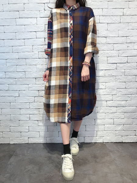 2010019 JP Mixed Colour Checked Shirt OP - BROWN