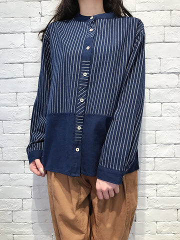 2010027 JF Striped Patchwork Shirt - NAVY