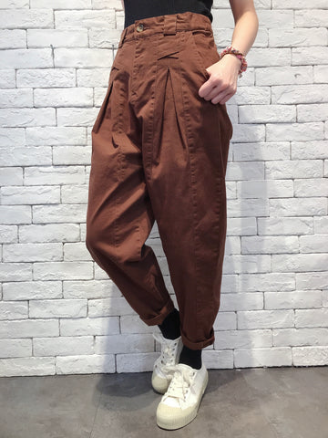 2010015 JF Front Folded Pants - BROWN