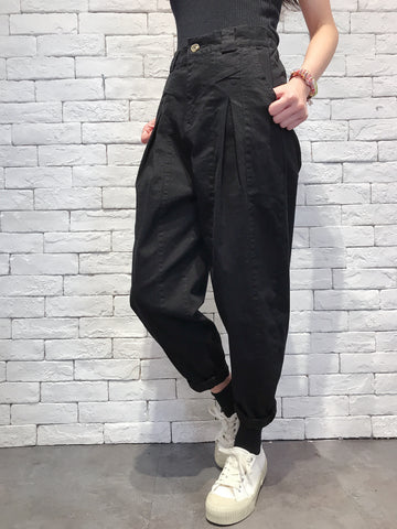 2010015 JF Front Folded Pants - BLACK