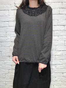 2010004 JF Crochet Collar Border Tee - BLACK