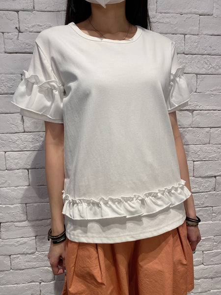 2006021 JF ruffles sleeves & bottom top - WHITE