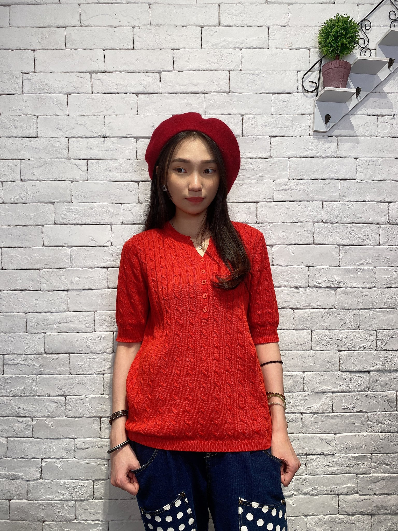 2001014 JF buttons cable knit top - RED