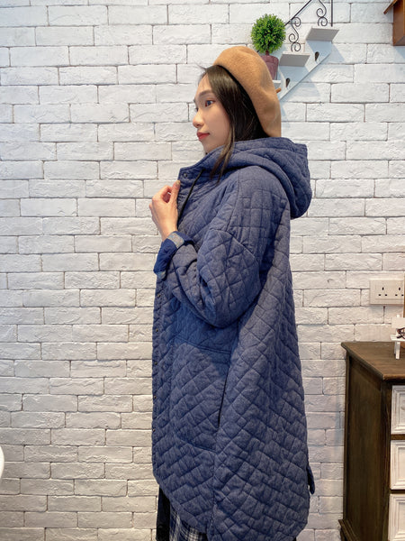 1912006 DD quilted hooded long jacket