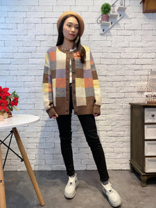 1912013 DD multi colour checks cardigan