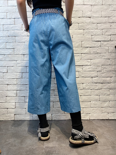 2005002 DD belted denim pants - BLUE