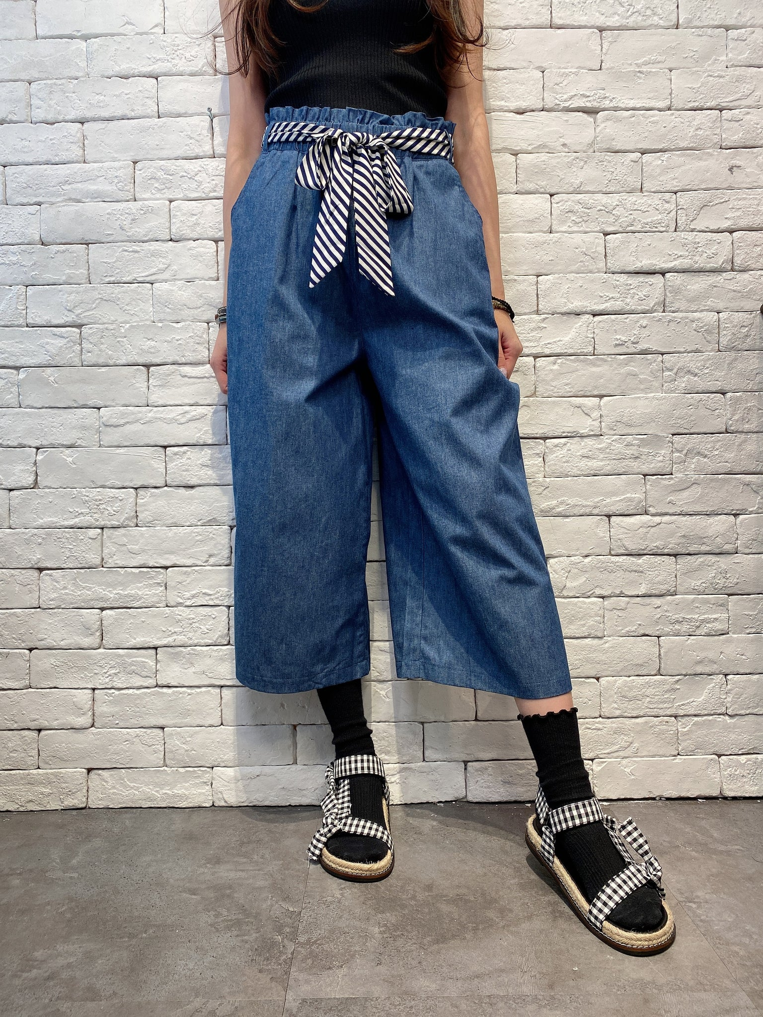 2005002 DD belted denim pants - NAVY