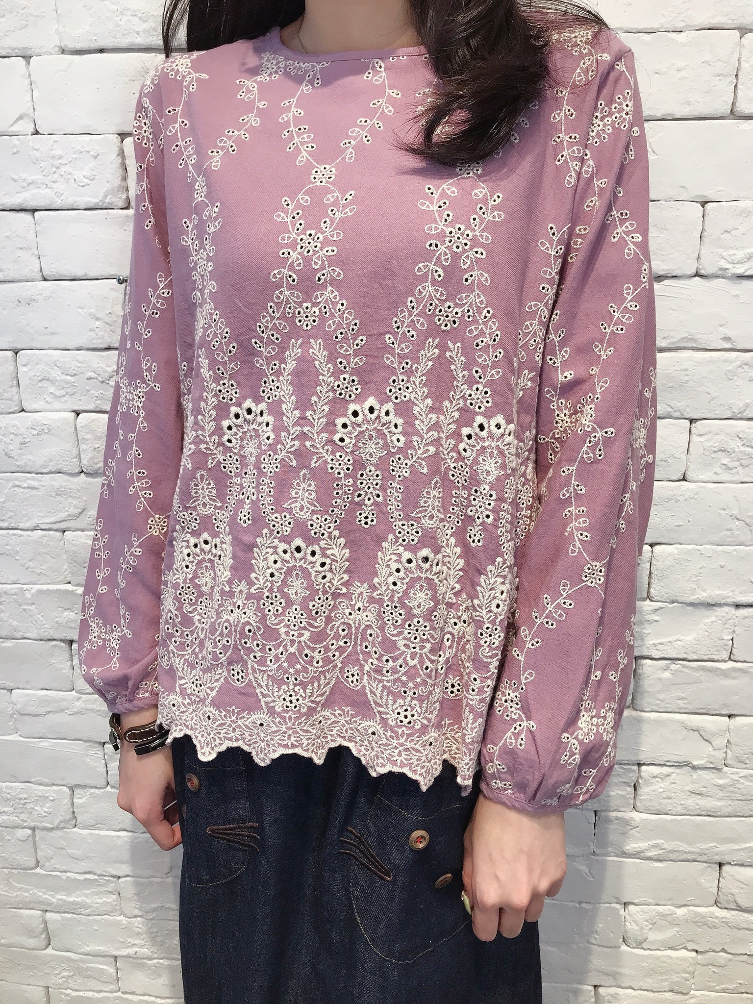 2008020 JF embroidery top - PURPLE