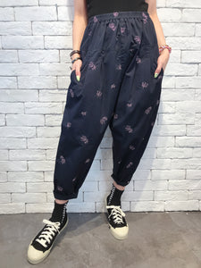 2008022 JP tree embroidery pants -NAVY