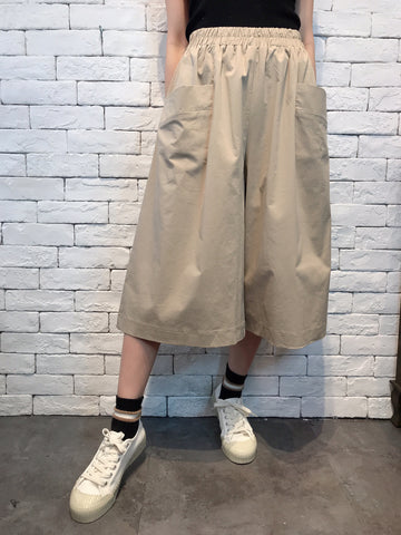 2007038 JF double pockets wide pants - BEIGE