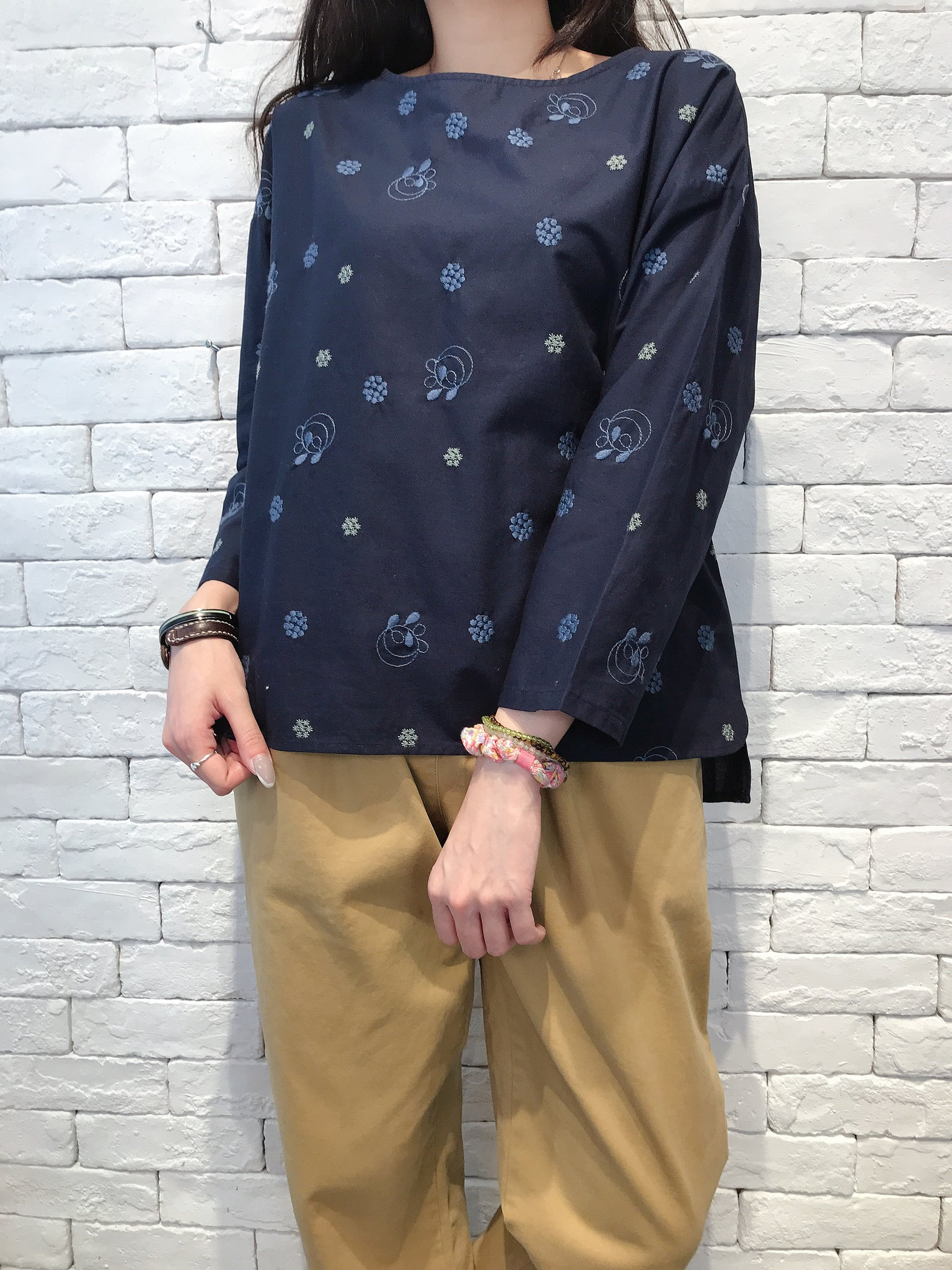 2009026 JP Embroidery Cotton Top - Navy