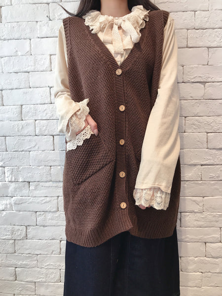 2010008 JF Lace Pocket Knit Long Vest - BROWN
