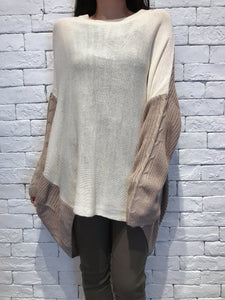 2010041 MY Bi-colour Knitted Long Top - BEIGE