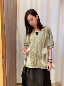 2105046 RR Lace Patchwork Short Sleeves Outer - Green