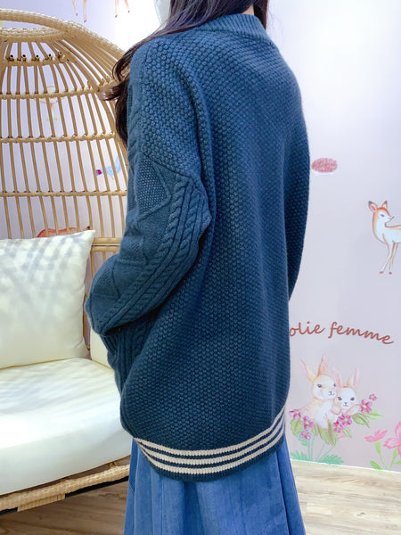 2011105 JF Cable knit Mixed Colour Hem Button Outer - BLUE