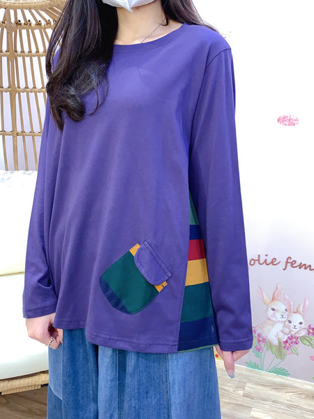 2011138 JF Mix Colour Grazy Top - PURPLE