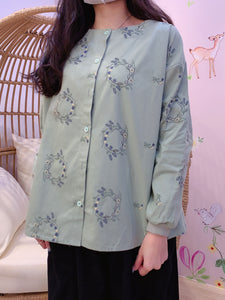 2011102 JP Embroidery Buttons Top - GREEN