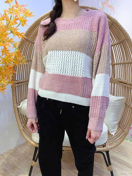 2011152 JF Colour Blocking Knit Top - PINK