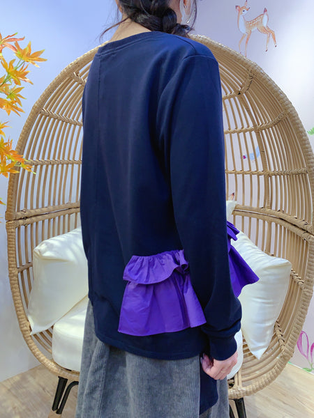 2011195 RR Colour Ruffles Top - NAVY