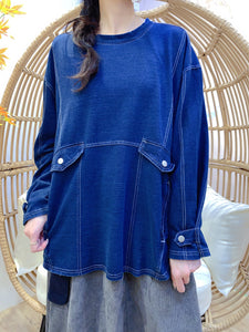 2011194 JF White Line Denim Knit Top - BLUE