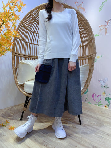 2011160 JP Side Pockets Corduroy Skirt - GREY