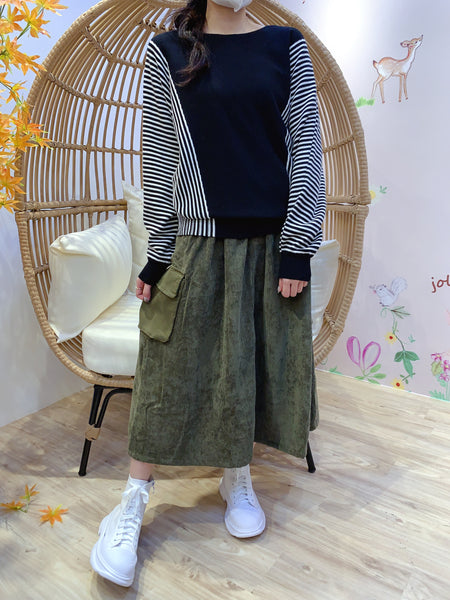 2011160 JP Side Pockets Corduroy Skirt - GREEN