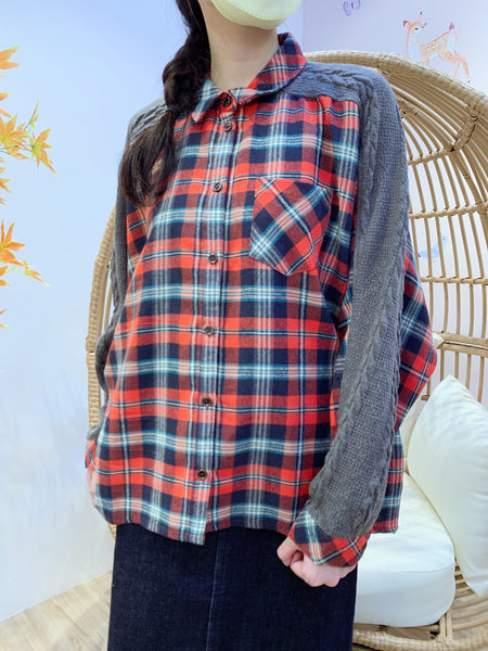 2012002 MY Check and Cable Knit Switching Shirt - Orange