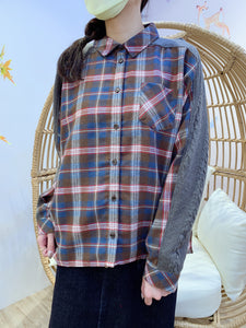 2012002 MY Check and Cable Knit Switching Shirt - Blue