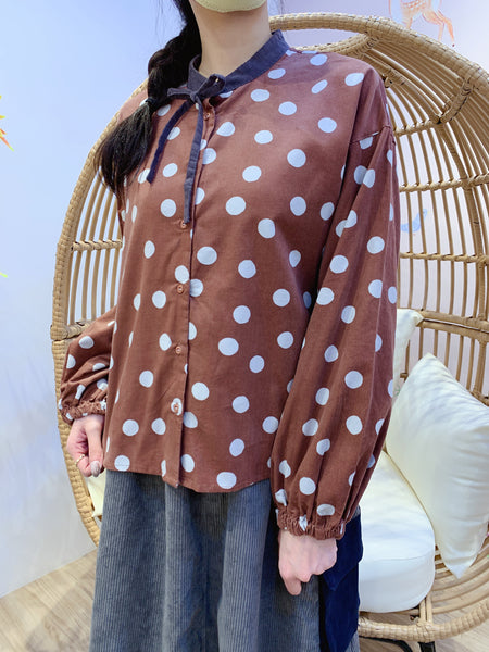 2012005 JF Dots Fine Corduroy  Shirt - Brown