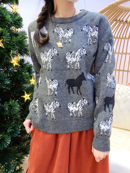 2012021 JF Horses  sweater - Grey