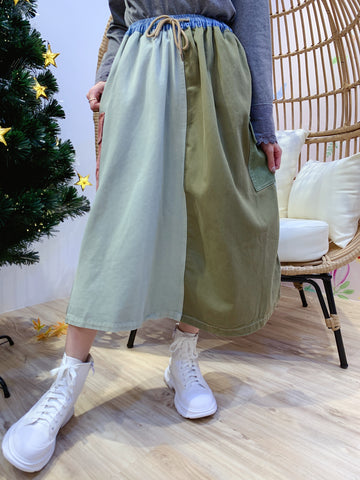 2012019 KR Patchwork Crazy Colour Skirt  - Green