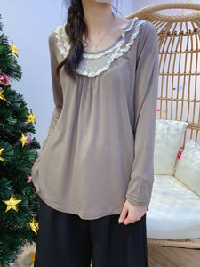 2012052 DR Lace Collar Top - Mocha