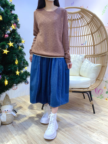 2012063 JF Two-tone Twist Knit Top - BROWN