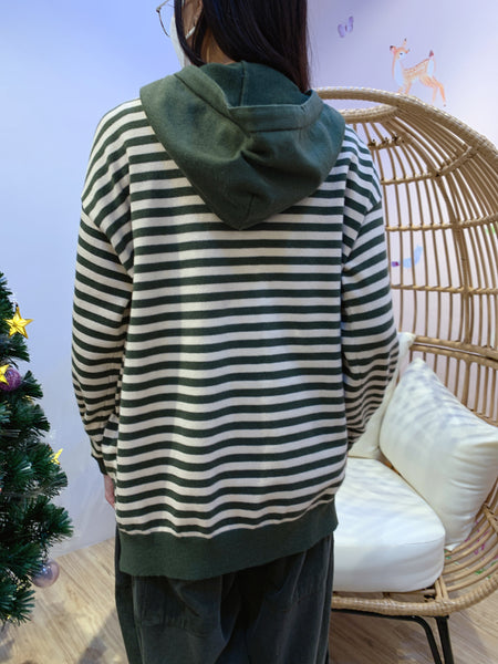 2012055 JF Border Knit Hoodie - Green